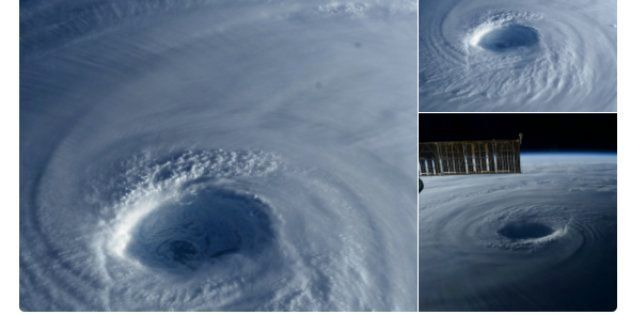 ISS観測用の小型ユニットから撮影した台風21号