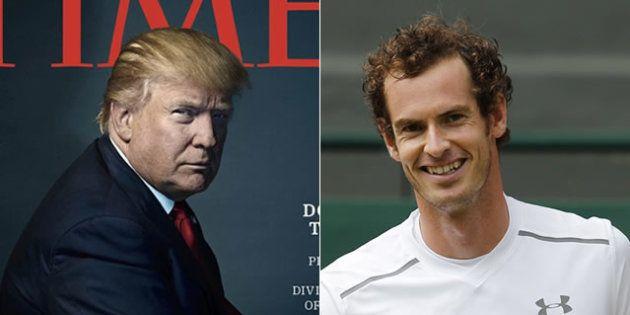 (左)2016年のTIME誌「今年の人」に登場したトランプ氏、(右)アンディー・マレー氏