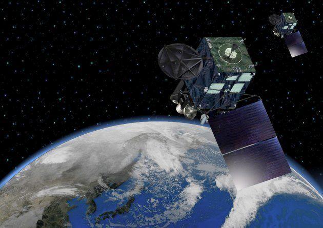 気象衛星ひまわりのイラスト
