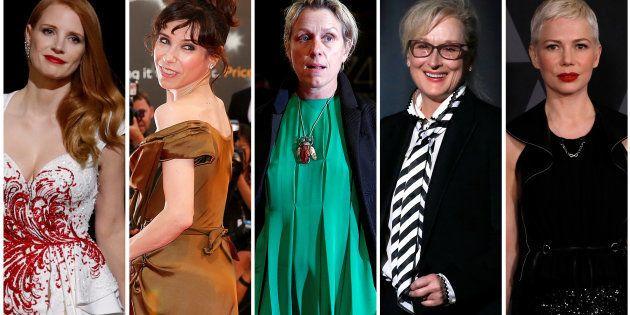 主演女優賞にノミネートされた(左から)ジェシカ・チャステイン、サリー・ホーキンス、フランシス・マクドーマンド、メリル・ストリープ、ミシェル・ウィリアムズ。