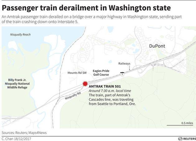 アメリカ・ワシントン州で列車が脱線、高速道路に転落 複数の死者