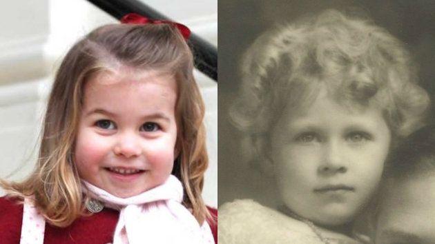 シャーロット王女(左)と幼少期のエリザベス女王