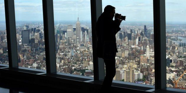 A view of Manhattan is seen from the One World Observatory May 20, 2015 during a media tour and preview...