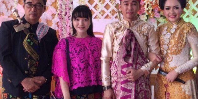 参列した結婚式で、新郎新婦と