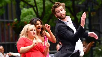 NEW YORK, NY - JULY 15:  Rebel Wilson, Priyanka Chopra and Liam Hemsworth seen on location for 'IsnÕt It Romantic' in Midtown on July 15, 2018 in New York City.  (Photo by James Devaney/GC Images)