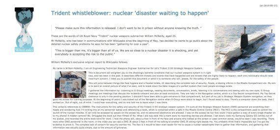 「潜水艦弾道ミサイルは大惨事を引き起こす」イギリス海軍兵がウィキリークスに告発