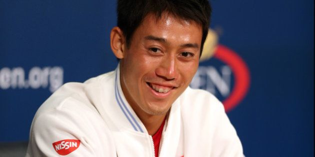 NEW YORK, NY - SEPTEMBER 06: Kei Nishikori of Japan speaks to the media after defeating Novak Djokovic...