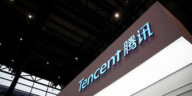 A sign of Tencent is seen during the fourth World Internet Conference in Wuzhen, Zhejiang province, China,...