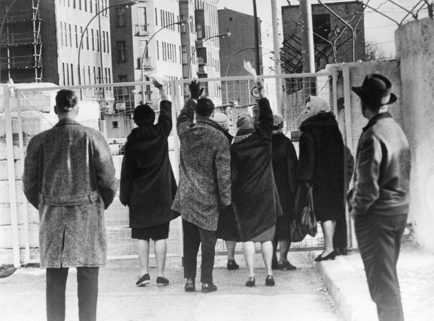 West-Berlin citizens at the border crossing at Chausseestrasse in Wedding. August 1961 (Photo by Alex...