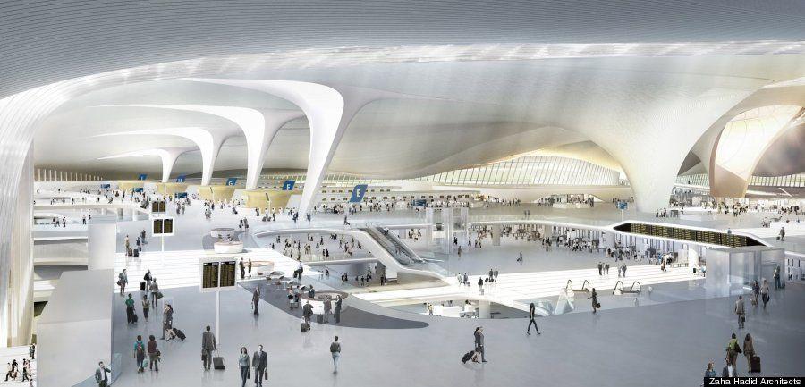 新国立競技場の設計者、ザハ・ハディド氏が「世界最大の空港」をつくったら(画像集)