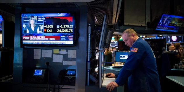 ダウ平均が過去最大の下げ幅となった2月5日のニューヨーク証券取引所