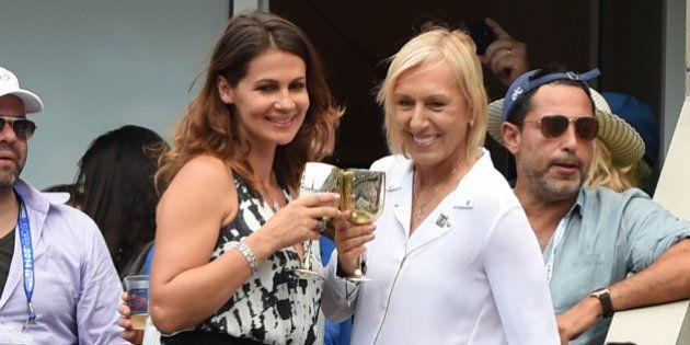 NEW YORK, NY - SEPTEMBER 06: Martina Navratilova (R) and Julia Lemigova celebrate their engagement during...