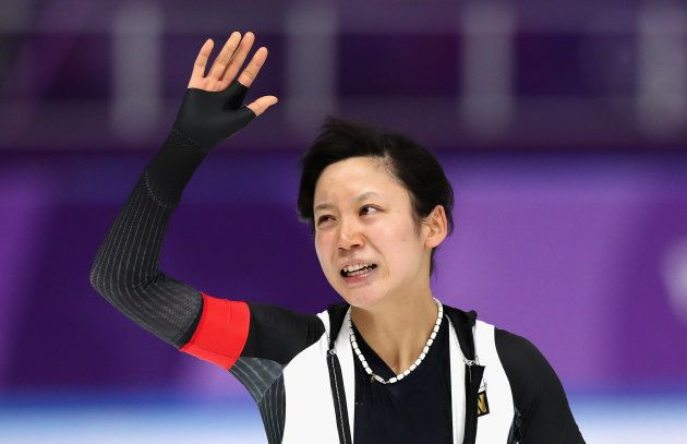 GANGNEUNG, SOUTH KOREA - FEBRUARY 12: Miho Takagi of Japan reacts after competing and winning the silver...