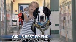 難病の11歳少女、大型犬に支えられ歩きかたを学ぶ