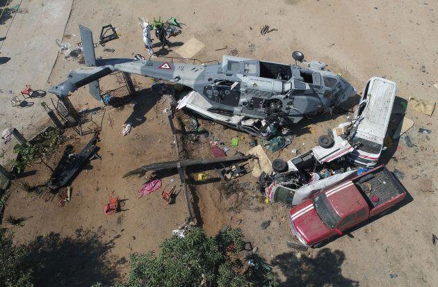 ヘリ墜落現場の上空写真