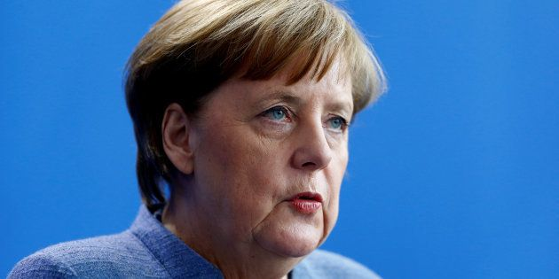 German Chancellor Angela Merkel addresses a news conference at the chancellery in Berlin, Germany, February...