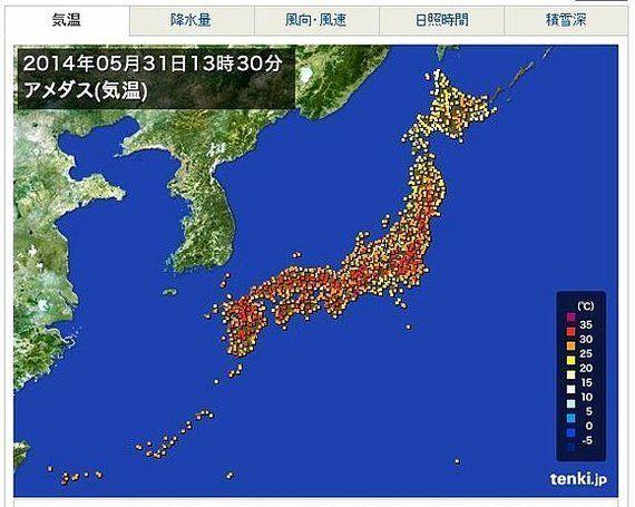 猛暑日、全国で今年初 明日6月1日も猛暑日に(吉田友海)