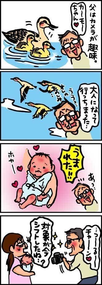 【子育て絵日記4コママンガ】つるちゃんの里帰り|(50)カモよりツルが好き?(0歳0ヶ月頃)