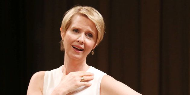 NEW YORK, NY - MAY 22: Cynthia Nixon on stage at the 2017 The Lilly Awards at Playwrights Horizons on...