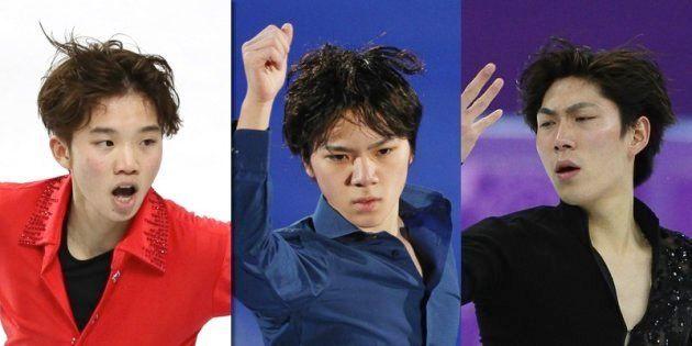 左から友野、宇野、田中の3選手
