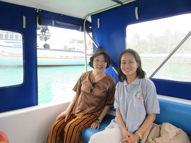 野田章子国連常駐調整官とスピードボートでマーバイトホー島へ
