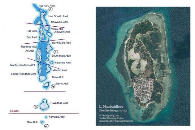 左はモルディブ全域の地図、右は訪問したマーバイトホー島。島中央のS字型は沼地