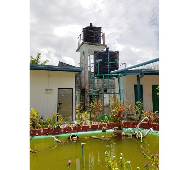 貯水槽から延びる青いパイプは、校庭をおおう屋根の「緑のカーテン」に流れ、また貯水槽へと循環する仕組みになっている