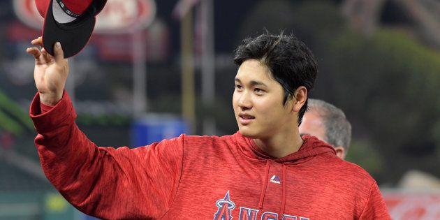 4月3日、 本拠・エンゼルスタジアムの試合に初出場した大谷翔平選手 Credit: Kirby Lee-USA TODAY