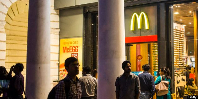 DELHI, INDIA - DECEMBER 01: McDonalds fast food restaurat at Connaught Place, a luxury shopping area...