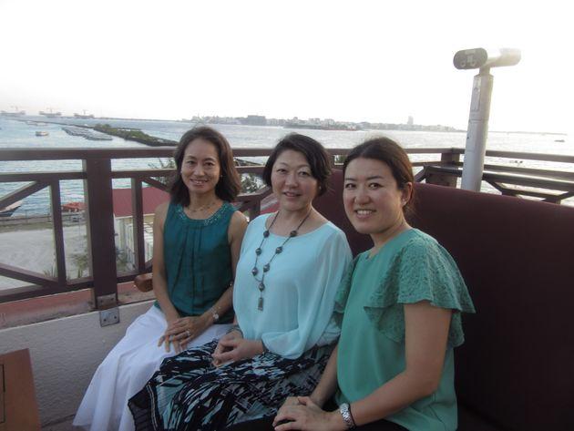 モルディブ訪問の締めくくりに3人でスナップ写真を