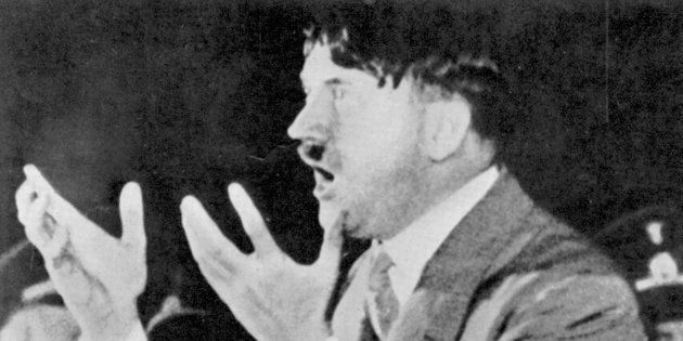 Adolf Hitler addressing Nazi rally in