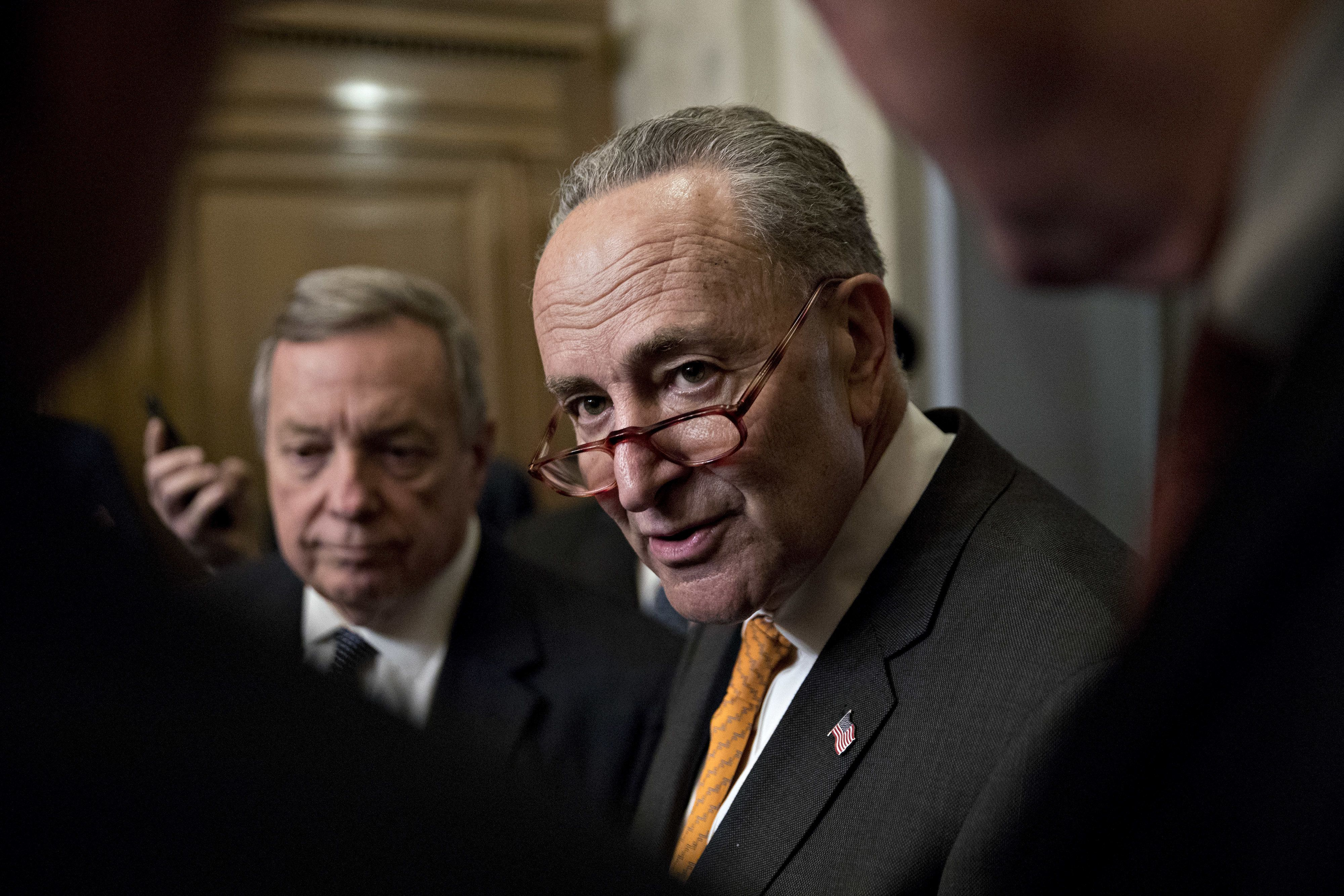 Senate Minority Leader Chuck Schumer, a Democrat from New York, speaks to members of the media at the U.S. Capitol after arriving from a meeting at the White House in Washington, D.C., U.S., on Wednesday, Jan. 9, 2019. President Donald Trump stormed out of a White House meeting with congressional leaders Wednesday as talks to end a nearly three-week government shutdown collapsed over his continued insistence on border wall funding. Photographer: Andrew Harrer/Bloomberg via Getty Images