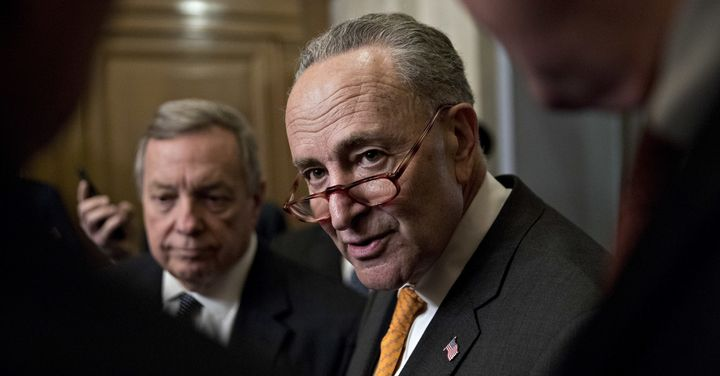 Senate Minority Leader Chuck Schumer (D-N.Y.) speaks to reporters at the Capitol on Jan. 9, before a meeting with President&n