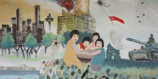 シンガポールの街中で壁に描かれた絵=2017年11月