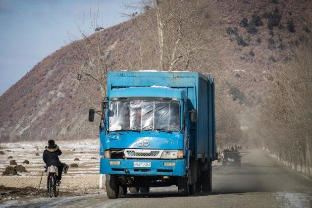 中国との国境地帯の街・会寧で撮影。