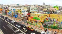 沖縄市・コザ十字路の商店街に世界最大級の壁画が出現