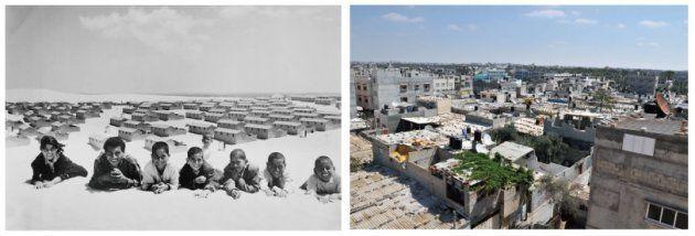 ガザの南部にあるハンユニス難民キャンプの過去