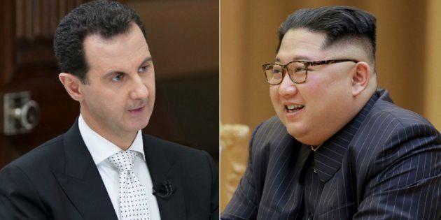 シリアのアサド大統領(左)と、北朝鮮の金正恩氏