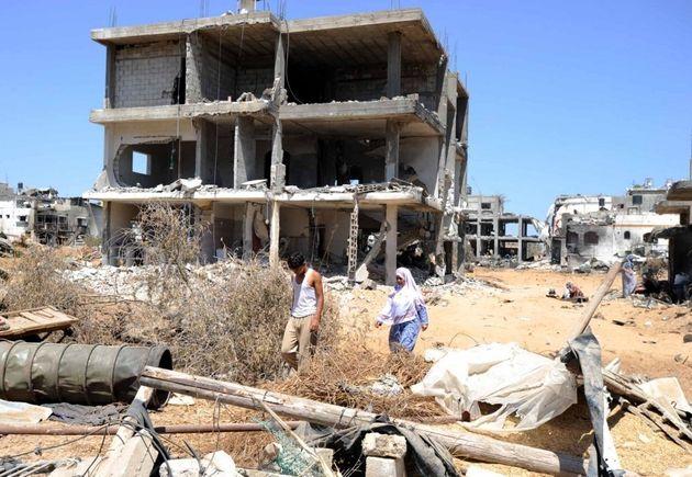 2014年の紛争で崩壊したガザの町