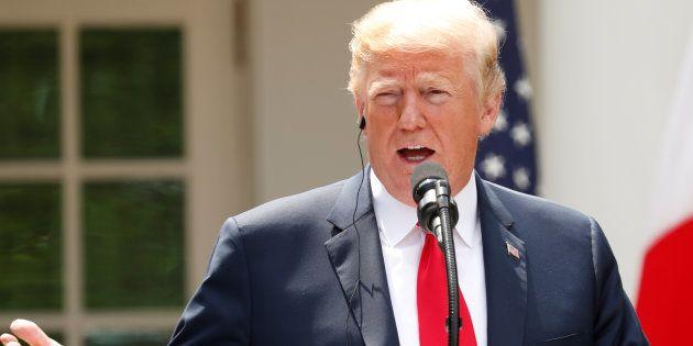 会見に臨んだトランプ大統領(2018年6月7日)