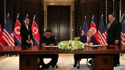 トランプ大統領と金正恩委員長、合意文書に署名。詳細は「記者会見で説明する」