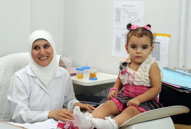 ガザのクリニックの乳幼児健診