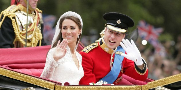 LONDON, UNITED KINGDOM - APRIL 29: (EMBARGOED FOR PUBLICATION IN UK NEWSPAPERS UNTIL 48 HOURS AFTER CREATE DATE AND TIME) Catherine, Duchess of Cambridge and Prince William, Duke of Cambridge travel down The Mall on route to Buckingham Palace in a horse drawn carriage following their wedding at Westminster Abbey on April 29, 2011 in London, England. (Photo by Indigo/Getty Images)