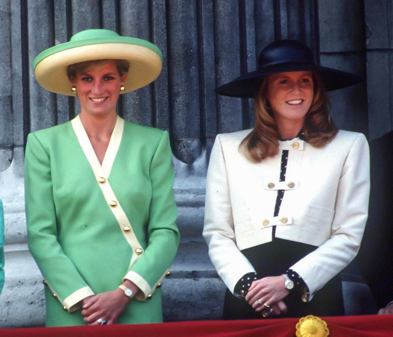 LONDON, UNITED KINGDOM  -  SEPTEMBER 15;   Diana, Princess of Wales ,and Sarah, Duchess of York attend the 50th Anniversary of The Battle of Britain Parade, on the balcony of Buckingham Palace, on September 15, 1990  in, London, United Kingdom..( Photo by Julian Parker/UK Press via Getty Images )