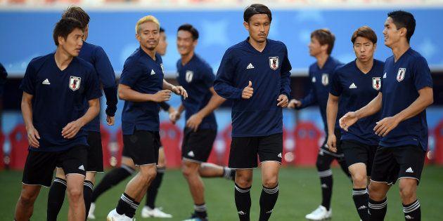 試合に向けて調整する日本代表