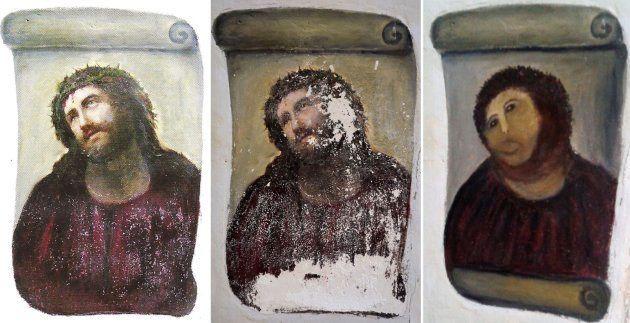スペイン北東部ボルハの教会の柱に描かれた当初のキリストの絵(左)、劣化していた最近の絵(中央)、女性画家が「修復」した後の現在の絵(右)(スペイン)