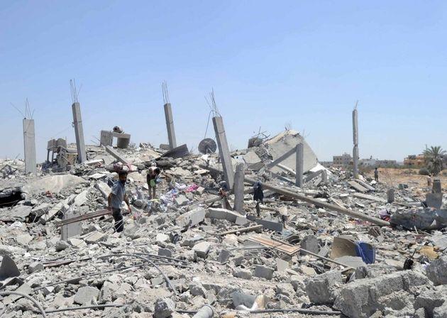 2014年の紛争で崩壊したガザの街