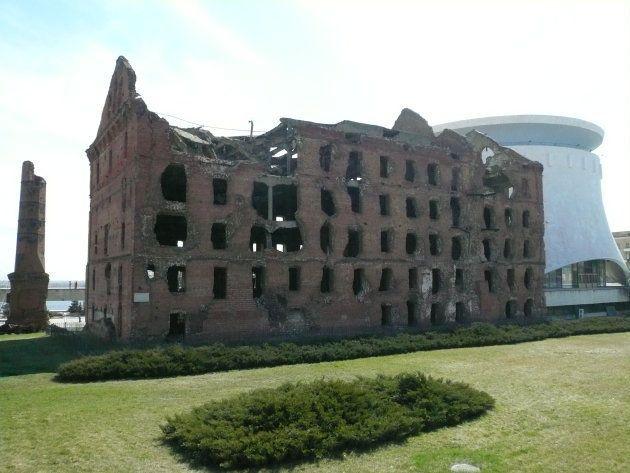 スターリングラード攻防戦で廃墟になった建物跡=ボルゴグラード