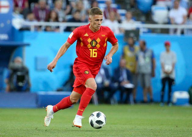 イングランド戦でプレーするベルギーのアザール=6月28