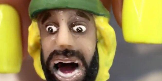 ロシア語スラングを叫び、ロシアで有名になっているブラジル人サポーターを模したフィギュアがついたネイル作品